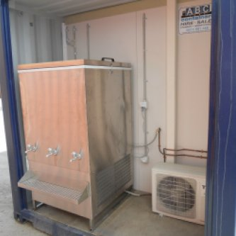 20'GP recreation room shipping container - external view of water chiller & reverse cycle A/C