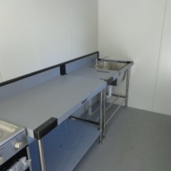 Shipping container modified into a kitchen - internal view