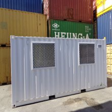 Shipping container modified into a kitchen - external view